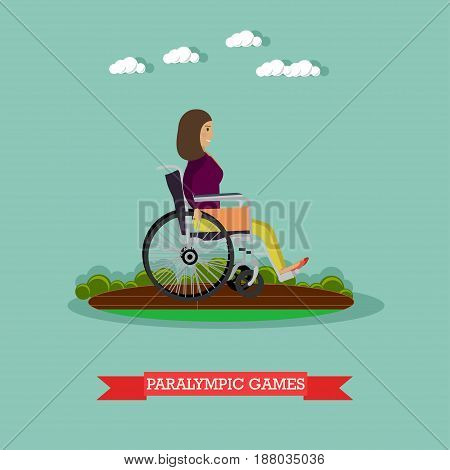 Vector illustration of disabled woman athlete in wheelchair taking part in sports competition. Paralympic games concept design element in flat style.