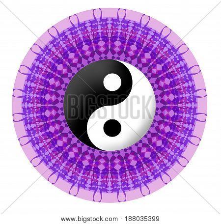 Circle purple vector mandala with jin jang symbol