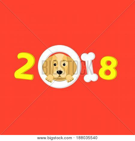Happy New Year. The year 2018 is a yellow earth dog. A lovely cartoon dog looks. Cartoon figures. Red background. Cover for the calendar. Vector illustration in a flat style