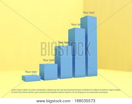 Vector bar chart template. Abstract 3D infographic. Design element for business. Vector illustration of blue bars with text on yellow background.