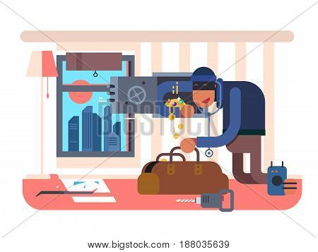 Burglar in the apartment. Robber crime, thief and stealing, criminal robbery, vector illustration
