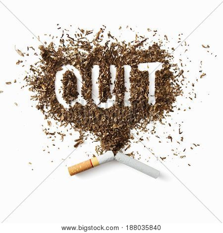 Quit or stop smoking concept pile of damaged cigarettes.
