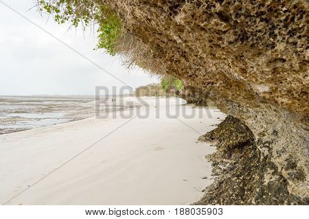 Small cove on the beach of Bamburi near Mombasa in Kenya