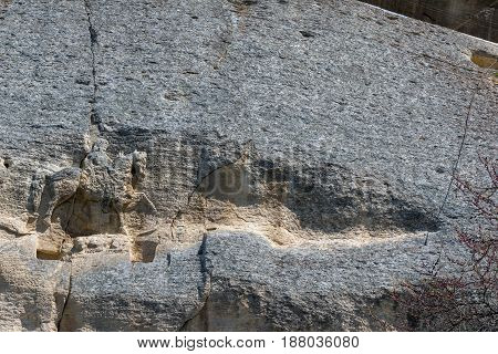 Early medieval rock relief Madara Rider from the period of First Bulgarian Empire, UNESCO World Heritage List,  Shumen Region, Bulgaria