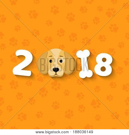 Happy New Year. The year 2018 is a yellow earth dog. A lovely cartoon dog looks. Cartoon figures. Orange pattern from the tracks. Cover for the calendar. Vector illustration in a flat style