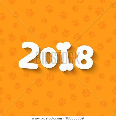 Happy New Year. The year 2018 is a yellow earth dog. Cartoon figures. White bone. A pattern of yellow dog tracks. Cover for the calendar. Vector illustration in a flat style