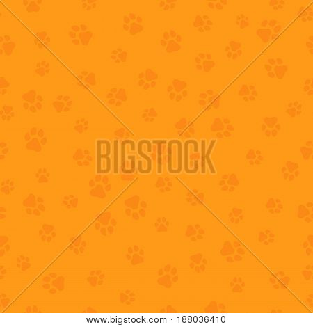 The earth dog. A pattern of canine tracks of different sizes. Traces of the dog are orange. Vector illustration in a flat style