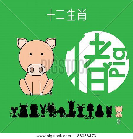 Chinese zodiac sign pig with Chinese character