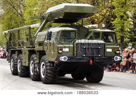 RUSSIAN KOZELSK MAY 9 2017 Victory Day May 9. Military Parade on anniversary of Victory in Great Patriotic War. Russian army vehicle. Missile truck tractor