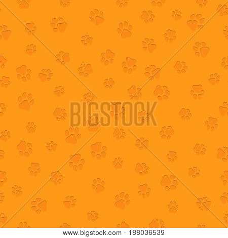 The earth dog. A pattern of canine tracks of different sizes. Volumetric 3d traces of a dog of orange color. Vector illustration in a flat style