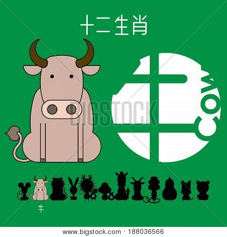 Chinese zodiac sign cow with Chinese character