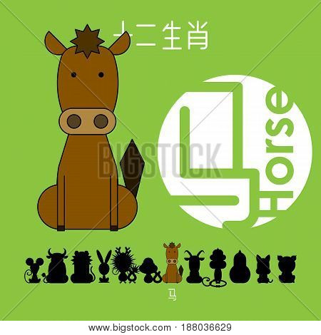Chinese zodiac sign horse with Chinese character