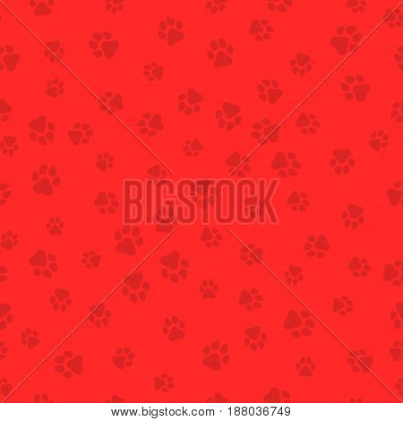 The earth dog. A pattern of canine tracks of different sizes. Traces of the dog are red. Vector illustration in a flat style