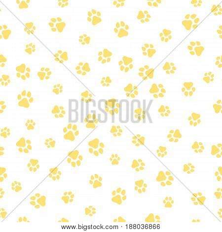 The earth dog. A pattern of canine tracks of different sizes. The dog tracks are yellow on a white background. Vector illustration in a flat style
