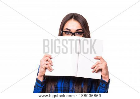 Closeup Portrait Attractive Young Happy Smiling Woman, Satisfied Student With Glasses Cover Face Wit
