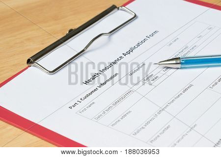 Health insurance application form wait for filling