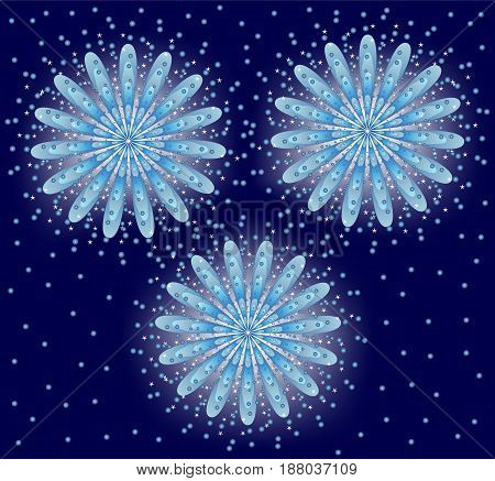 fireworks, Vector illustration. Salute on a blue background.
