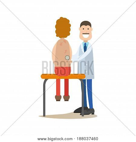 Vector illustration of doctor male dermatologist examining his patient. Medical practitioner flat style design element, icon isolated on white background.