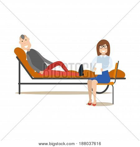 Vector illustration of doctor psychiatrist female helping patient male to overcome emotional stress, relationship problems or troublesome habits. Medical practitioner flat style design element.