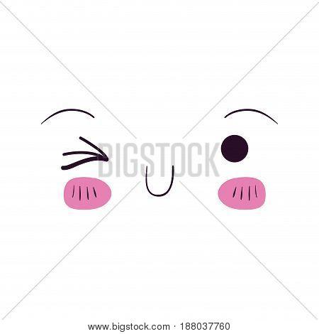 colorful facial expression kawaii wink eye vector illustration