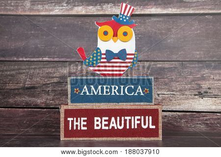 An America the Beautiful decoration for the holiday