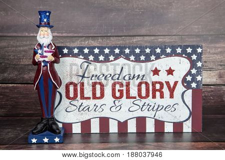 A patriotic sign with Uncle Sam for the holiday