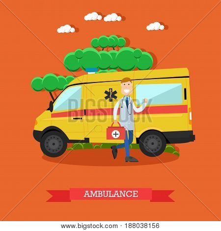 Vector illustration of ambulance car and doctor paramedic male with emergency bag standing next to it. Flat style design.