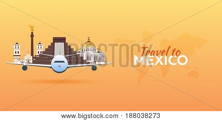 Travel To .mexico Airplane With Attractions. Travel Vector Banners. Flat Style.