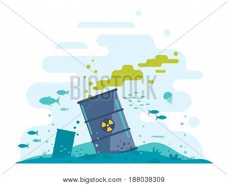 Barrel of toxic radioactive waste on the ocean floor with fish in polluted water, radiation pollution from nuclear power plant, ecological disaster, dirty toxic effluents, environmental pollution, isolated
