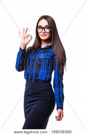 Business Woman With An Ok Sign Isolated Over A White Background