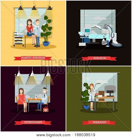 Vector set of medical doctors posters. Surgeon and Plastic surgeon, Nutritionist and Therapist flat style design elements.