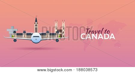 Travel To Canada. Airplane With Attractions. Travel Vector Banners. Flat Style.