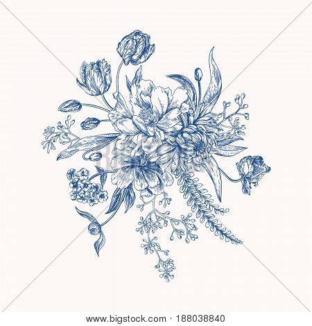 Bouquet in vintage style. Composition of colorful flowers. Design elements isolated on white background. Tulips peony chrysanthemum ferns eucalyptus seeds. Blue color.