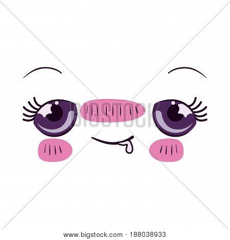 colorful facial expression embarrassed kawaii vector illustration