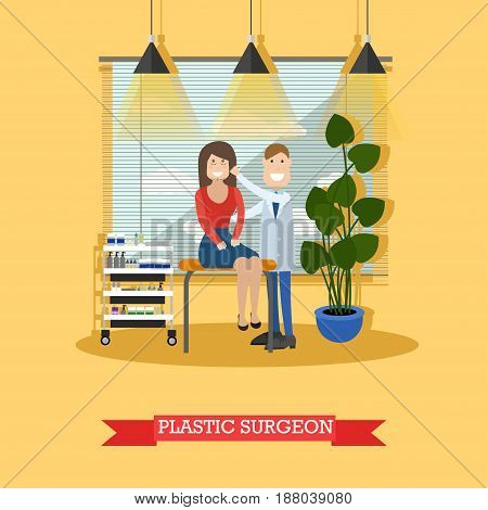 Vector illustration of doctor male plastic surgeon examining his patient female. Medical clinic interior. Flat style design.