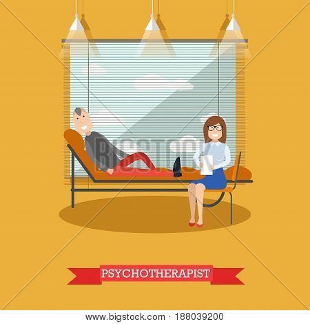 Vector illustration of doctor female sitting next to lying on couch male. Psychologist or psychiatrist listening to problems of patient. Psychotherapist flat style design.