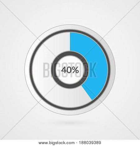 40 percent blue grey and white pie chart. Percentage vector infographics. Forty Circle diagram isolated symbol. Business illustration icon