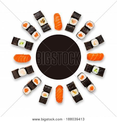Japanese food restaurant delivery mockup for logo. Sushi maki roll circle platter set isolated on white background, top view