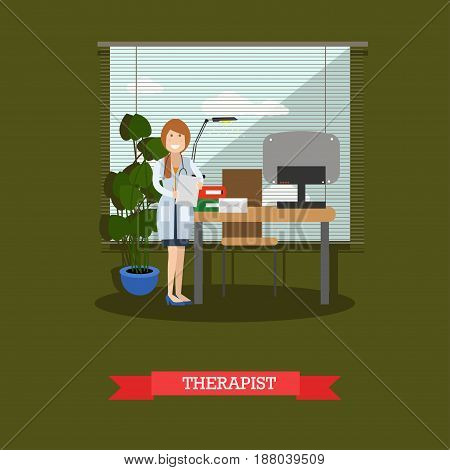 Vector illustration of doctor female with stethoscope at workplace. Medical clinic, doctors office interior. Therapist concept design element in flat style.