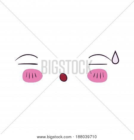 colorful facial expression asleep kawaii vector illustration