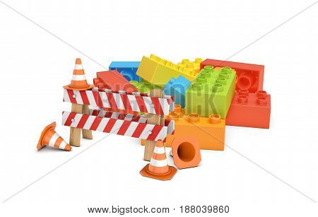 3d rendering of a striped roadblock sign beside several traffic cones standing in front of a colorful lego blocks pile. Building and construction. Work as game. Simple solutions.