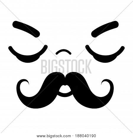 kawaii cute sleeping face with mustache, vector illustration