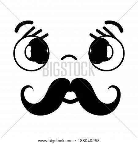 kawaii cute sad face with mustache, vector illustration
