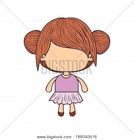 colorful caricature of faceless little girl with collected bun hair vector illustration