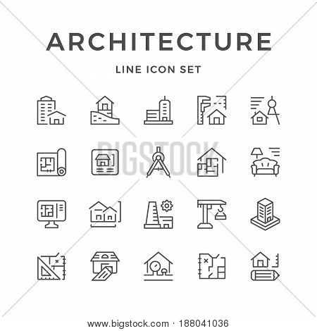 Set line icons of architecture isolated on white. Vector illustration