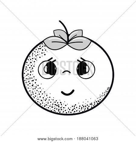 hand drawn kawaii nice shy tomato vegetable, vector illustration