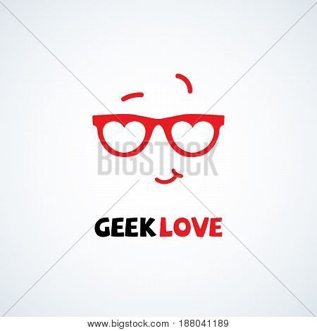 Geek logo design template with face in glasses in form of hearts . Vector illustration.