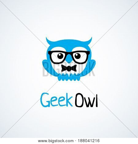 Geek logo design template with owl in glasses and bow tie. Vector illustration.