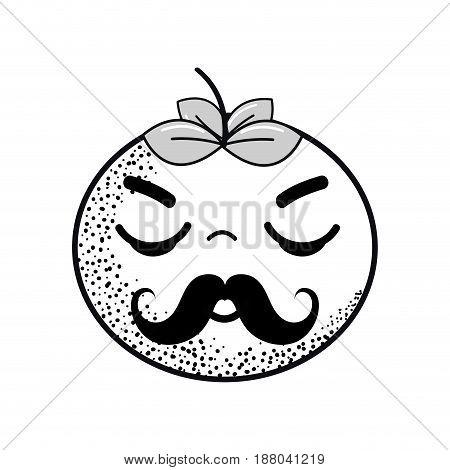 hand drawn kawaii nice sleeping tomato vegetable, vector illustration