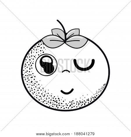 hand drawn kawaii nice funny tomato vegetable, vector illustration